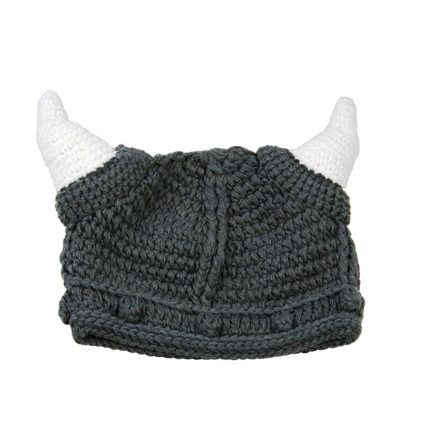 Toddler Boy Knit Grey Viking Beanie