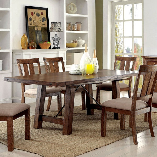 America Polson Country Style Medium Oak Dining Table With 18 Inch Leaf