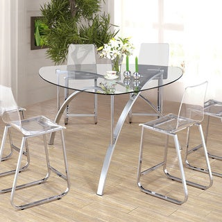 Furniture of America Miellis Contemporary Triangular Glass Top Counter Height Table