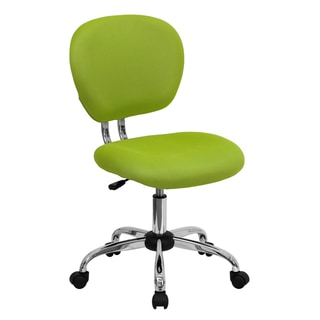 Rigmos Armless Green Mesh Swivel Adjustable Office Chair with Chrome Base