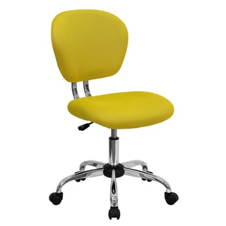 Rigmos Armless Yellow Mesh Swivel Adjustable Office Chair with Chrome Base
