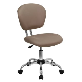 Rigmos Armless Coffee Colored Mesh Swivel Adjustable Office Chair with Chrome Base