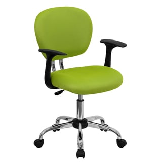 Rigmos Green Mesh Adjustable Swivel Office Chair with Arms and Chrome Base