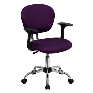 Rigmos Purple Mesh Adjustable Swivel Office Chair with Arms and Chrome Base
