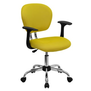 Rigmos Yellow Mesh Adjustable Swivel Office Chair with Arms and Chrome Base