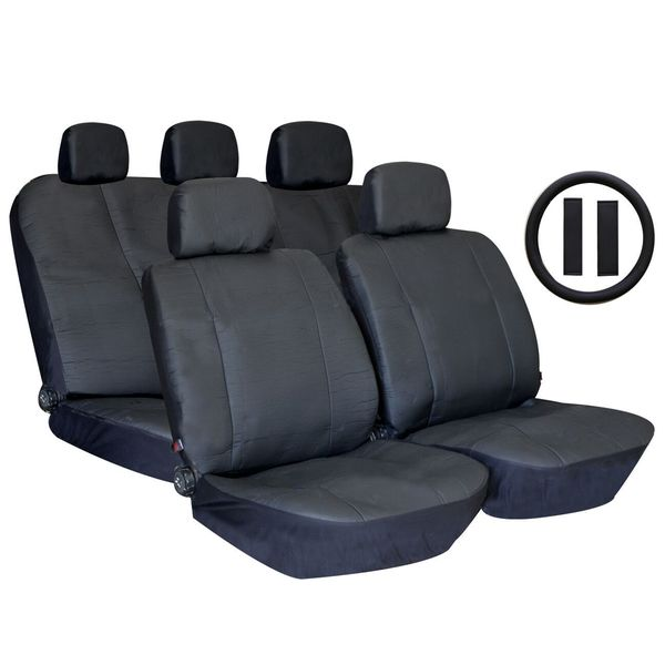 Black Premium Synthetic PU Faux Leather Seat Cover Set with Carpet Floor Mats