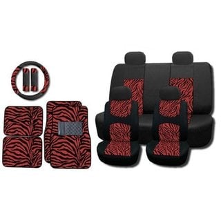 Red Zebra 15-piece Seat Covers and Floor Mats Set
