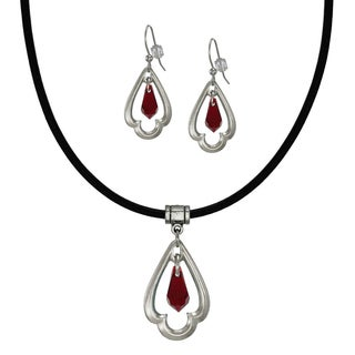 Jewelry by Dawn Ruby Red Crystal Scalloped Teardrop Greek Leather Necklace and Earring Set