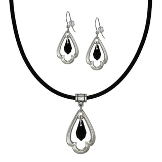 Jewelry by Dawn Black Crystal Scalloped Teardrop Greek Leather Necklace And Earring Set