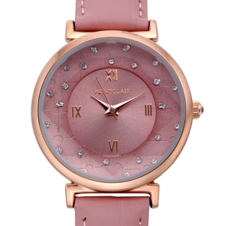 Montclair Women's Aleutian Pink Leather Stainless Steel Textured Chapter Wing Watch