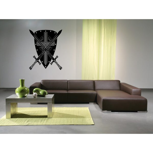 Shield and Sword Wall Art Sticker Decal
