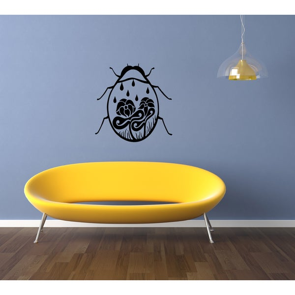 Ladybird and flower Wall Art Sticker Decal