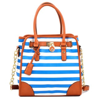 Dasein Faux Leather Medium Striped Satchel with Chain Shoulder Strap