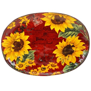 Certified International Sunflower Meadow Oval Platter 17-inch x 12.5-inch