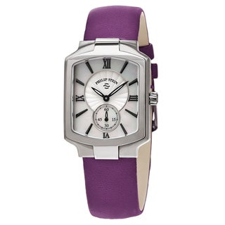 Philip Stein Women's 21-CMOP-CIPR 'Classic Square' Mother of Pearl Dial Purple Leather Strap Quartz Watch