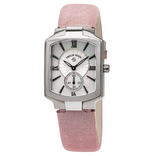 Philip Stein Women's 21-CMOP-CMLA 'Classic Square' Mother of Pearl Dial Pink Metallic Leather Strap Quartz Watch