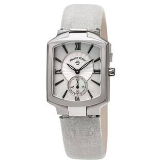 Philip Stein Women's 21-CMOP-CMS 'Classic Square' Mother of Pearl Dial Silver Metallic Leather Strap Quartz Watch