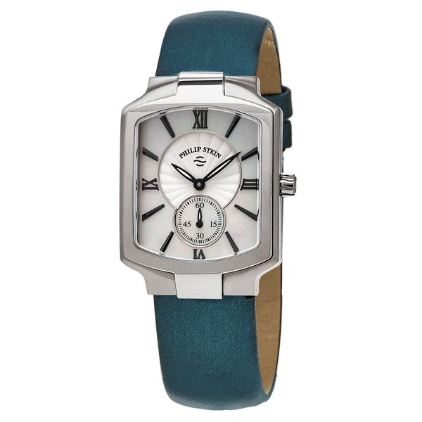 Philip Stein Women's 21-CMOP-ITL 'Classic Square' Mother of Pearl Dial Blue Fabric Strap Swiss Quartz Watch