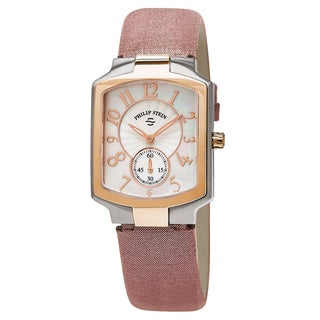 Philip Stein Women's 21TRG-FW-CMLA 'Classic Square' Mother of Pearl Dial Pink Metallic Leather Strap Two Tone Quartz Watch
