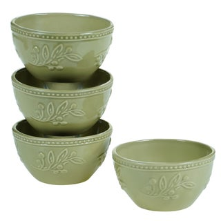 Certified International Bianca Green 5.5-inch Ice Cream Bowls (Set of 4)