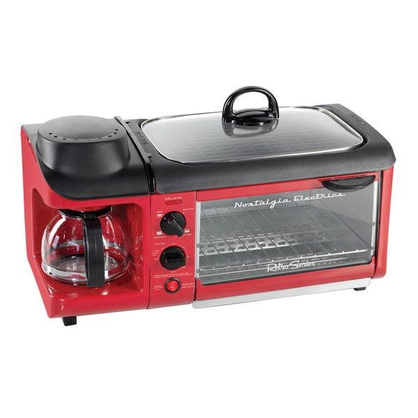 Nostalgia Electrics BSET300RETRORED Retro Series 3-in-1 Breakfast Station