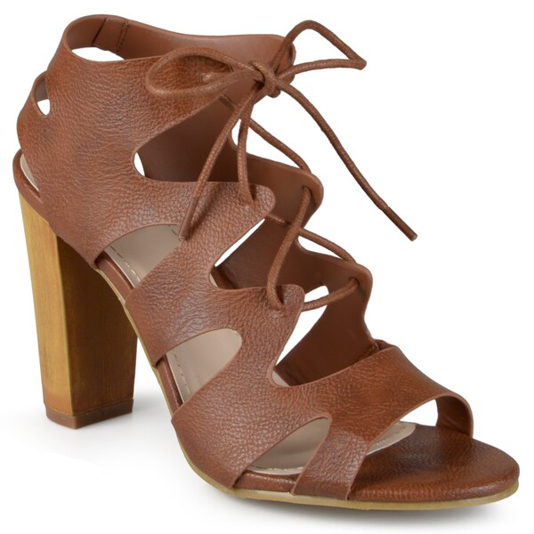 Journee Collection Women's 'Azure' Heeled Lace-up Gladiator Sandals