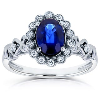 Annello 14k White Gold Oval Blue Sapphire and 1/8ct TDW Diamond Antique Ring (H-I, I2)
