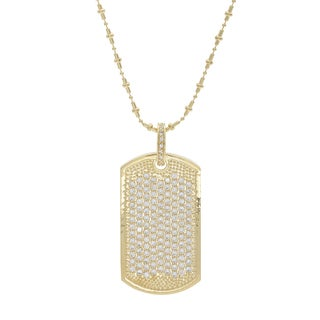 NEXTE Jewelry Brass Cubic Zirconia Micro Pave Dog Tag Necklace