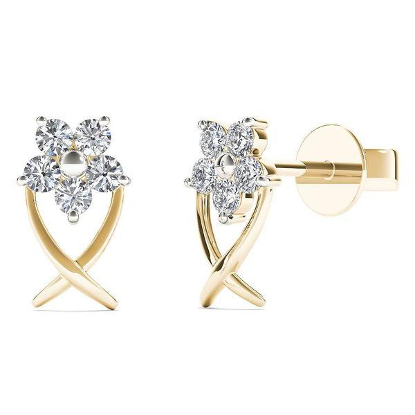 10k Yellow Gold 1/6ct TDW Diamond Star Flower Stud Earrings (H-I,I1-I2)