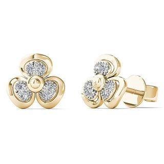 10k Yellow Gold Diamond Accent Fashion Stud Earrings (H-I, I1-I2)