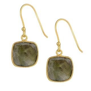 Saachi 18k Gold Clad Faceted Cushion Gemstone Earrings (India)
