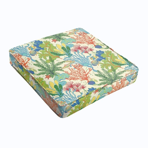 Blue Green Seascape Square Cushion - Corded