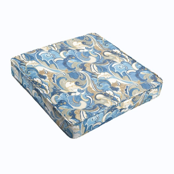 Blue Grey Abstract Square Cushion - Corded