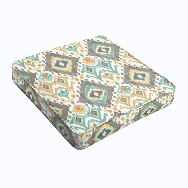 Grey Aqua Ikat Square Cushion - Corded