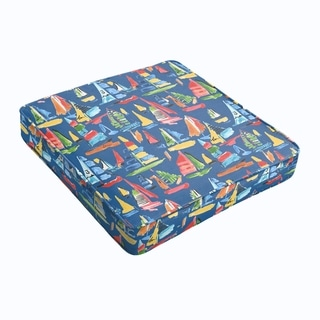 Blue Sailboats Square Cushion - Corded