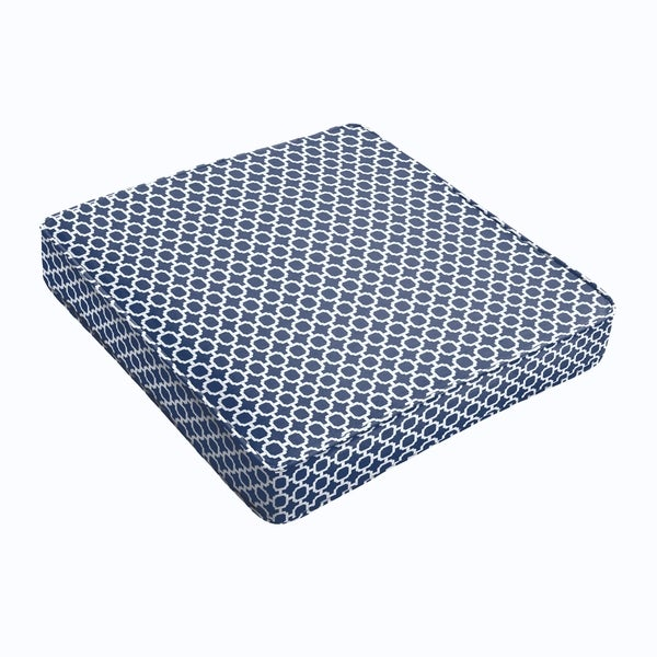 Navy Chainlink Square Cushion - Corded