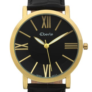 Eberle Men's Renzo Soft Black Genuine Croc Grain Leather Watch