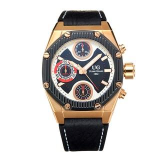 Ulysse Girard Men's Laroque Black Leather Goldtone Stainless Steel Chronograph Watch