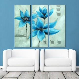 Hand-painted Blooming Blue Flower Art on Canvas 1324 - 48 x 28in