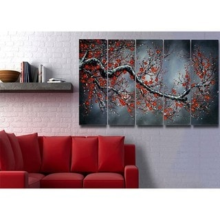 Hand-painted Modern Black Floral Oil Painting 1038