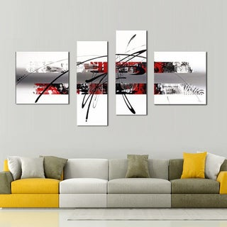 Hand-painted White, Red Abstract Canvas Art 105