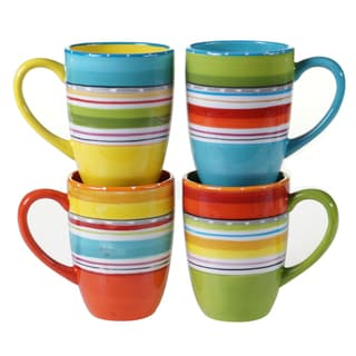Certified International Bianca Green 20-ounce Mugs (Set of 4) Assorted Designs