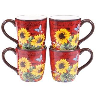 Certified International Sunflower Meadow 16-ounce Mugs (Set of 4)