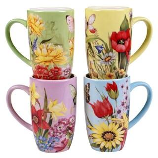 Certified International Floral Bouquet 18-ounce Mugs (Set of 4)
