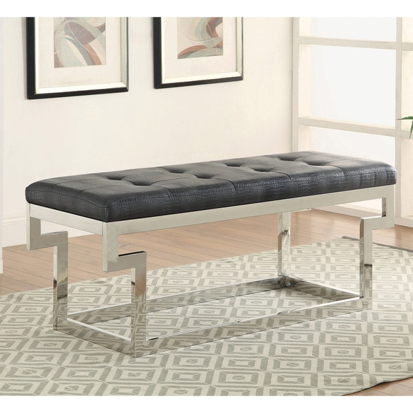 Furniture of America Babbie Contemporary Faux Crocodile Leather Small Accent Bench 17637159