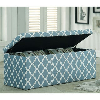 Furniture of America Monterey Quatrefoil Pattern Tufted Lift-top Storage Bench