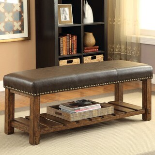Furniture of America Penner Rustic Upholstered Medium Oak Entryway Bench