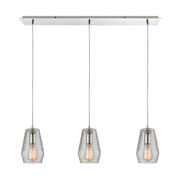 Elk Ribbed Glass 3-light Pendant in Polished Chrome 17637398