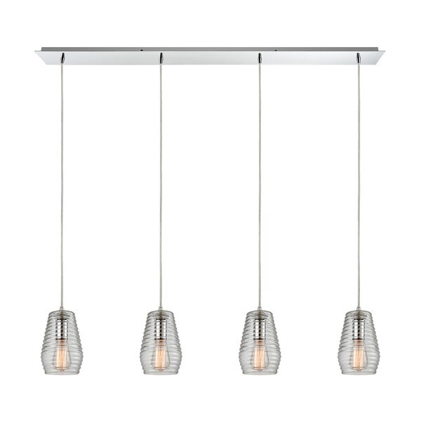 Elk Ribbed Glass 4-light Pendant in Polished Chrome 17637399