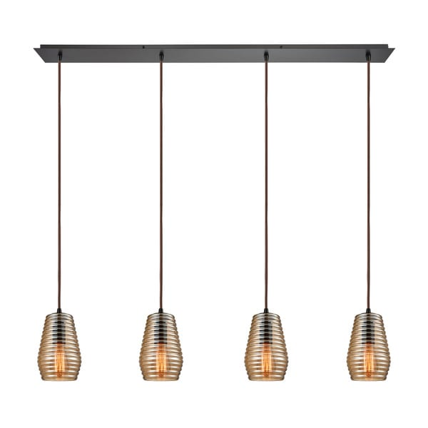 Elk Ribbed Glass 4-light Pendant in Oil Rubbed Bronze 17637404